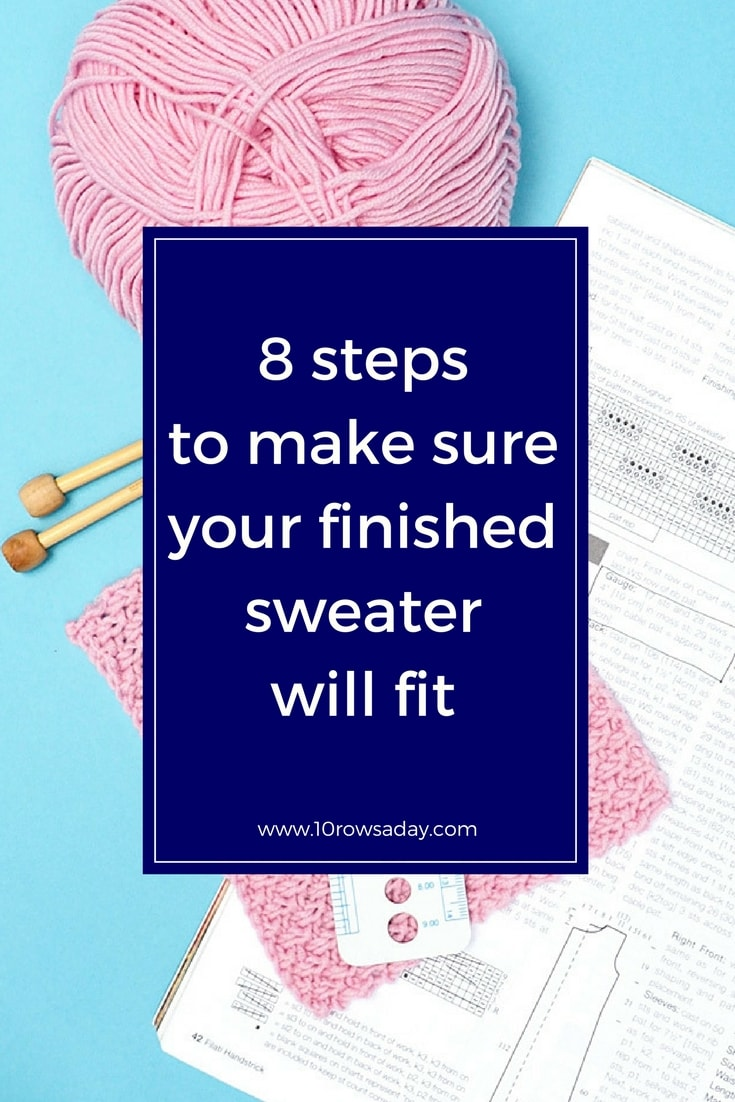 8 steps to make sure your finished sweater will fit | 10 rows a day
