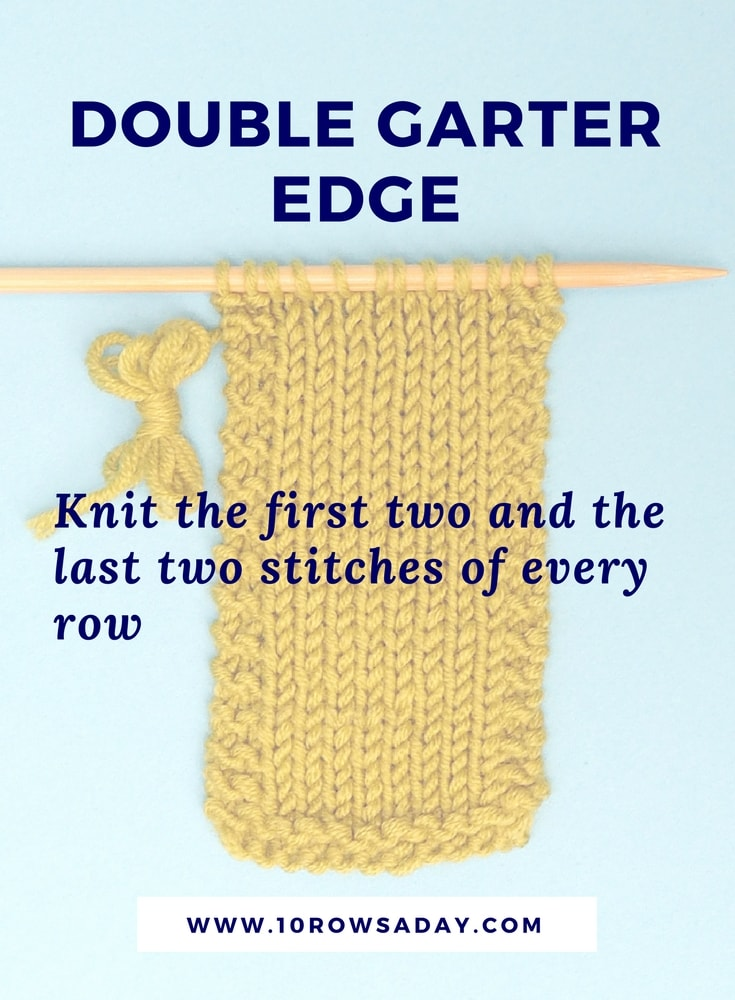 5 ways to make neat side edges in knitting - double garter selvedge | 10 rows a day