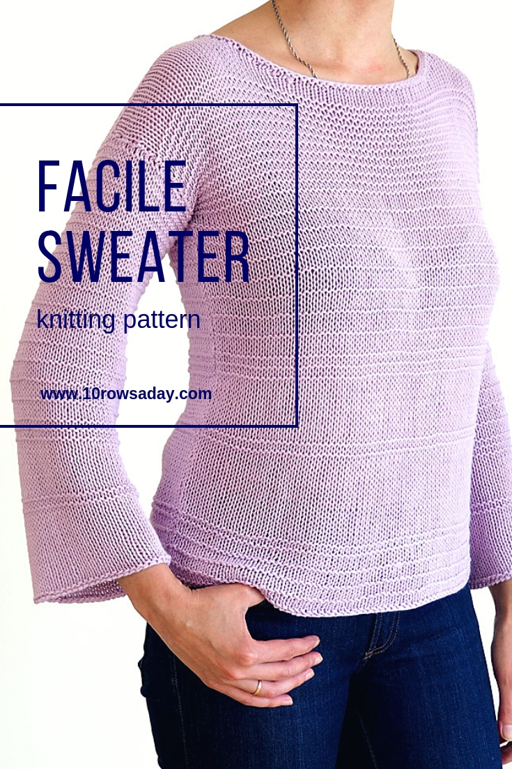 Facile Sweater Knitting Pattern | 10 rows a day