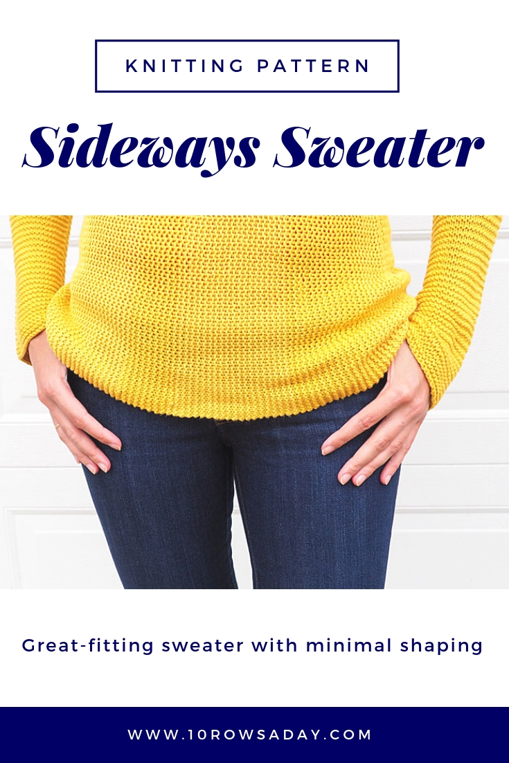 Sideways Sweater - Knitting Pattern | 10 rows a day
