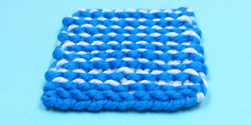 Two-Colour Garter Stitch Worked Flat and in the Round